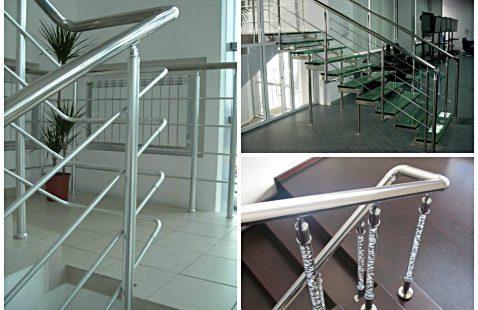 Никелированные перила для лестниц современного стиля